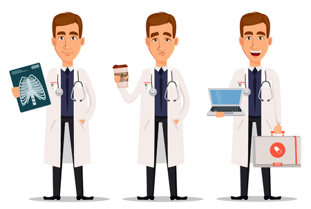 Young professional doctor, set with x-ray shot, with coffee and with laptop. Medical worker. Hospital staff. Cartoon character on white background. Vector illustration.