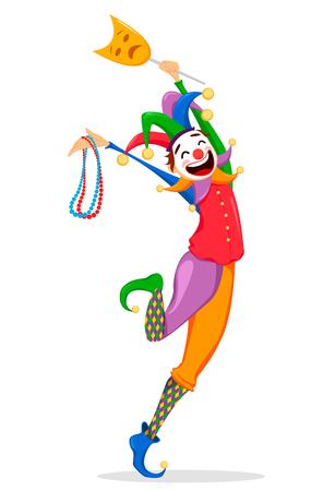 Bufón de Mardi Gras en una máscara que sostiene los collares para el cartel, la tarjeta de felicitación, la invitación del partido, la bandera o el aviador en el fondo blanco. Personaje de dibujos animados alegre Ilustracion vectorial