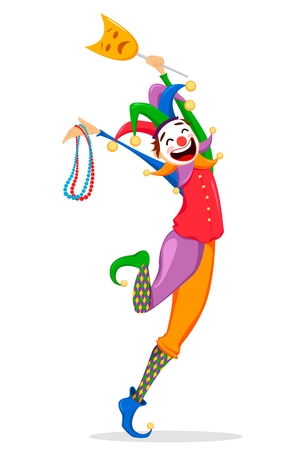 Mardi Gras jester in a mask holding necklaces for poster, greeting card, party invitation, banner or flyer on white background. Cheerful cartoon character. Vector Illustration.