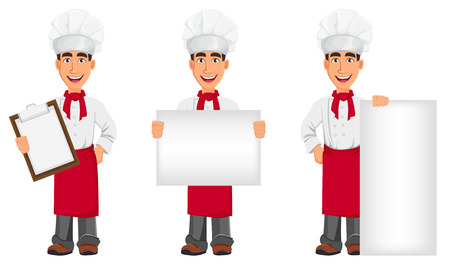 Young professional chef in uniform and cook hat. Smiling cartoon character, set with clipboard and with placards. Restaurant staff character design. Vector illustration. Vettoriali