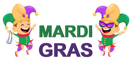 Mardi Gras nar bedrijf kettingen voor poster, wenskaart, uitnodiging voor feest, banner of flyer. Vrolijke stripfiguur en letters op een witte achtergrond. Vector illustratie Stock Illustratie