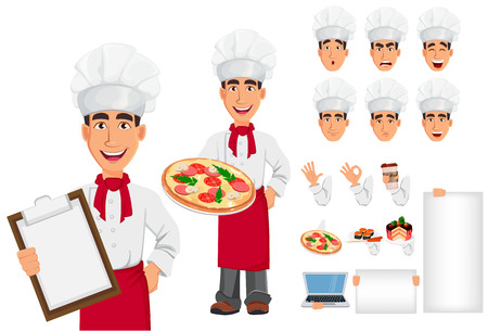 Young professional chef in uniform and cook hat. Smiling cartoon character creation set. Restaurant staff character. Build your personal design - stock vector illustration. Stock Illustratie