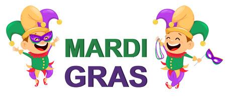 Mardi Gras nar bedrijf kettingen voor poster, wenskaart, uitnodiging voor feest, banner of flyer. Vrolijke stripfiguur en letters. Vector illustratie