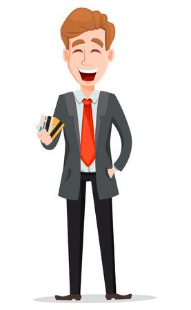 Zakenman met blond haar, stripfiguur. Knappe zakenman in pak creditcards houden. Vector illustratie geïsoleerd op een witte achtergrond.