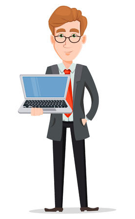 Business man with blond hair, cartoon character. Handsome businessman in suit and glasses holding laptop. Vector illustration isolated on white background. Illustration