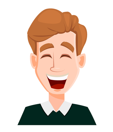 Face expression of a man with blond hair - laughing. Male emotions. Handsome business man cartoon character. Vector illustration isolated on white background.