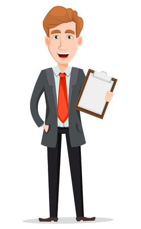 Business man with blond hair, cartoon character. Handsome businessman in suit holding checklist. Vector illustration isolated on white background.