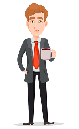 Business man with blond hair, cartoon character. Tired businessman in suit holding cup with hot drink. Vector illustration isolated on white background.