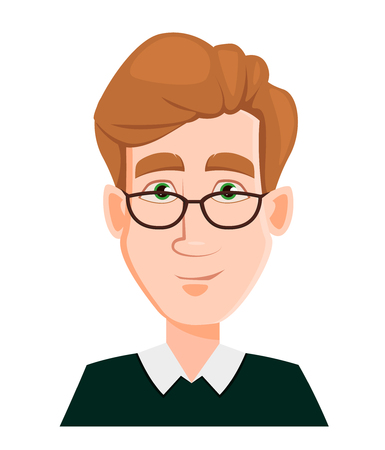 Face expression of a man in glasses with blond hair - smiling. Male emotions. Handsome business man cartoon character. Vector illustration isolated on white background. Illustration