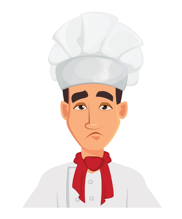 Face expression of chef man – sad, tired. Restaurant staff character. Vector illustration isolated on white background. Illustration