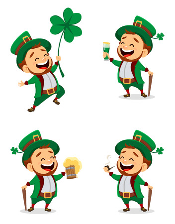 Happy Saint Patrick's Day. Character with green hat. Set of cartoon funny leprechaun with clover, beer, ale and smoking pipe. Vector illustration on white background