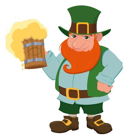 Cartoon happy leprechaun holding a pint of fresh beer.