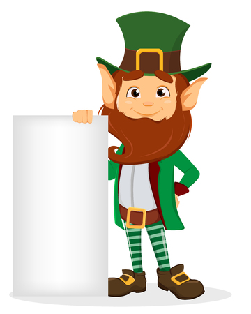 Saint Patricks Day Smiling cartoon character leprechaun with green hat holding blank placard Vector illustration Illustration