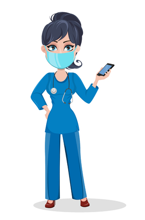 Doctor woman in mask, professional medical staff. Beautiful cartoon character medic holding modern smartphone. Vector illustration.