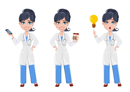 Doctor woman, professional medical staff. Beautiful cartoon character medic. Set with smartphone, with coffee and with good idea. Vector illustration.