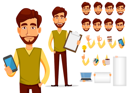 Pack of body parts and emotions. Vector character illustration in cartoon style. Business man with beard, cartoon character creation set. Young handsome businessman in smart casual clothes.