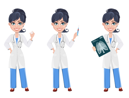 Doctor woman, professional medical staff. Beautiful cartoon character medic. Set with tooth mode, with syringe and with x-ray image. Vector illustration. Illustration