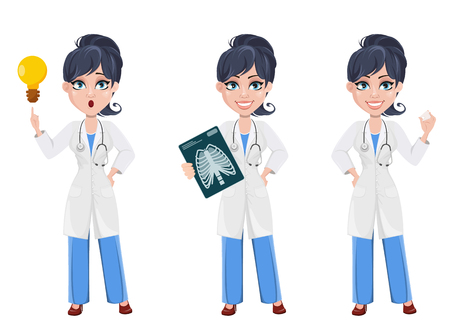 Doctor woman, professional medical staff. Beautiful cartoon character medic. Set with x-ray image, with a good idea and with tooth model. Vector illustration.