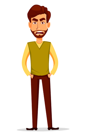 Business man with beard, cartoon character. Young handsome businessman in smart casual clothes with angry facial expression. Vector character illustration in cartoon style.