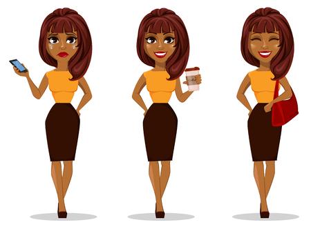 Personaggio dei cartoni animati della donna di affari dell'afroamericano. Insieme di giovane bella donna di affari in abbigliamento casual astuto che tiene smartphone, che tiene caffè e che tiene borsa. Stock vettoriale Vettoriali