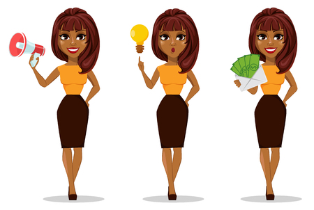 African American business woman cartoon character. Set of young beautiful businesswoman in smart casual clothes holding loudspeaker, with a good idea and holding envelope full of money.