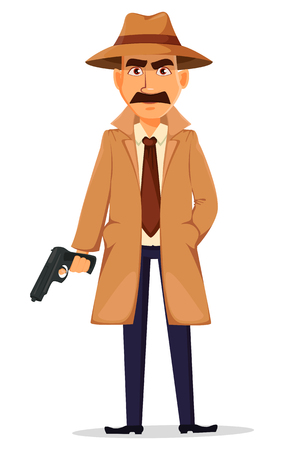 Detective in hat and coat. Handsome cartoon character holding a gun. Vector illustration isolated on white background. Illustration