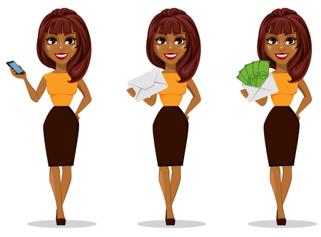 African American business woman cartoon character. Set of young beautiful businesswoman in smart casual clothes holding smartphone.