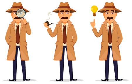Detective in hat and coat. Set of handsome cartoon character with magnifying glass, with a good idea and with smoking pipe Vector illustration isolated on white background. Vettoriali