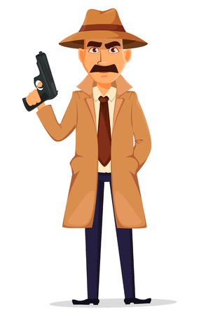 Detective in hat and coat. Handsome cartoon character holding a raised gun. Vector illustration isolated on white background.