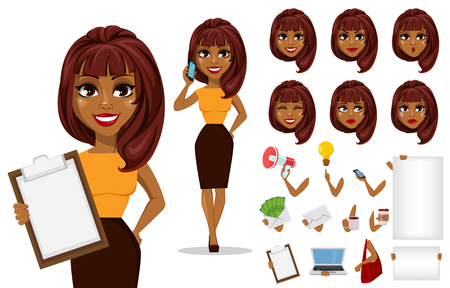 Pack of body parts and emotions. African American business woman cartoon character creation set. Young beautiful businesswoman in smart casual clothes. Stock vector Illustration