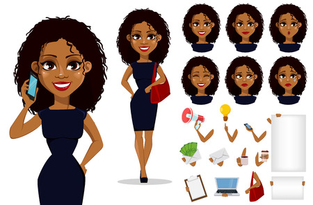 Pack of body parts and emotions. African American business woman cartoon character creation set. Vettoriali