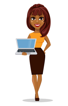 African American business woman cartoon character. Young beautiful smiling businesswoman in smart casual clothes holding laptop. Stock vector