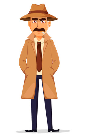 Detective in hat and coat. Handsome cartoon character standing with hands in pockets and smoking a cigarette. Vector illustration isolated on white background.