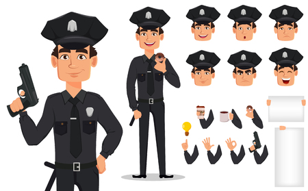 Police officer, policeman. Pack of body parts and emotions. Cartoon character cop creation set. Vector illustration