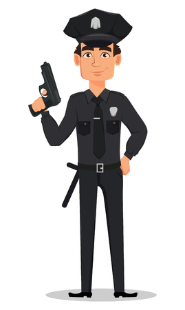 Police officer, policeman with a gun. Smiling cartoon character cop. Vector illustration isolated on white background
