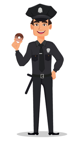 Police officer, policeman with tasty donut. Smiling cartoon character cop. Vector illustration isolated on white background