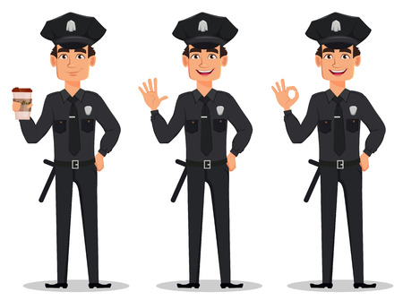 Police officer, policeman. Set of cartoon character cop with a cup of coffee, waving hand and showing ok sign. Vector illustration isolated on white background Ilustração