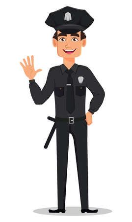 Police officer, policeman waving hand. Smiling cartoon character cop. Vector illustration isolated on white background Vettoriali