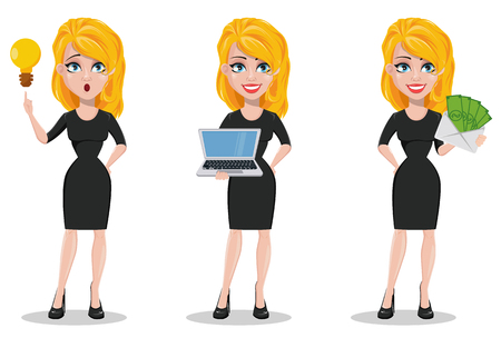 Beautiful business woman. Set with blonde businesswoman in formal wear with a good idea, holding laptop and holding envelope with money. Cute cartoon character. Vector illustration.