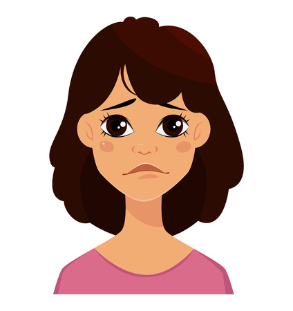 Face expression of a cute woman, sad. Female emotion. Attractive cartoon character. Vector illustration isolated on white background. 일러스트