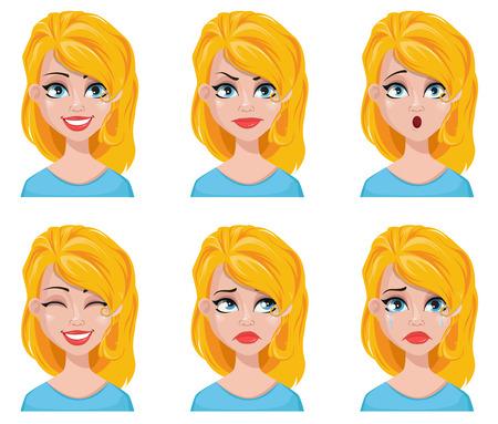 Expresiones faciales de linda mujer rubia. Conjunto de diferentes emociones femeninas. Atractivo personaje de dibujos animados. Ilustración de vectores aislado sobre fondo blanco. Ilustración de vector