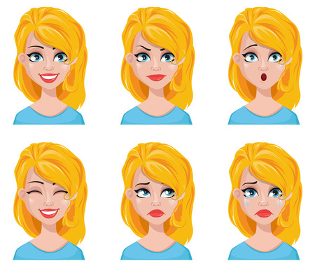 Face expressions of cute blonde woman. Different female emotions set. Attractive cartoon character. Vector illustration isolated on white background.