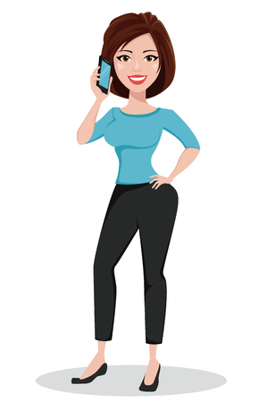 Beautiful business woman talking by phone. Businesswoman in casual clothes standing straight. Cute cartoon character. Vector illustration.