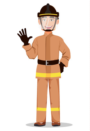 Firefighter in professional uniform and safe helmet. Fireman cartoon character waves hand. Vector illustration on white background.