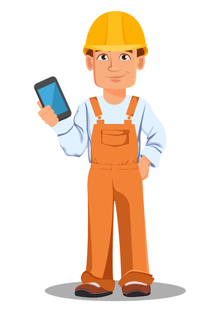 Handsome builder in uniform, cartoon character. Professional construction worker. Smiling repairman with a smartphone. Vector illustration on white background. Illustration
