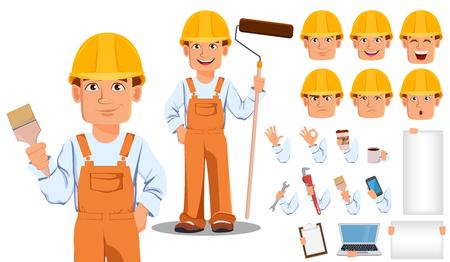 Handsome builder in uniform cartoon character creation set. Professional construction worker. Illustration