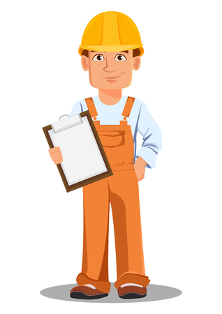 Handsome builder in uniform, cartoon character. Professional construction worker. Smiling repairman holds checklist. Vector illustration on white background.