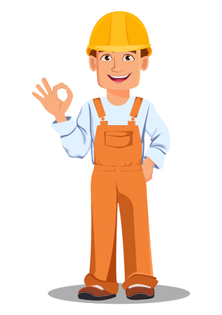 Handsome builder in uniform, cartoon character. Professional construction worker. Smiling repairman shows ok sign. Vector illustration on white background.