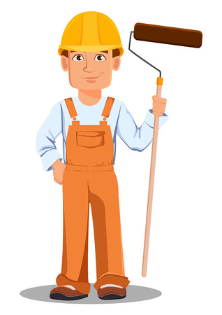 Handsome builder in uniform, cartoon character. Professional construction worker. Smiling repairman with a paint roller. Vector illustration on white background.