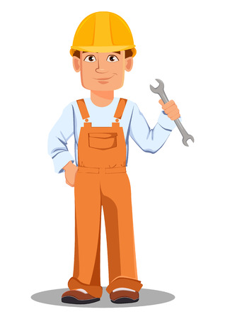 Handsome builder in uniform, cartoon character. Professional construction worker. Smiling repairman with a cup of coffee. Vector illustration on white background. Stock Illustratie